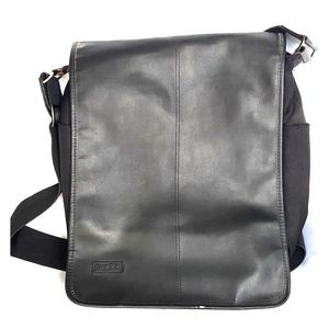 2/$20 Mexx leather messenger bag black